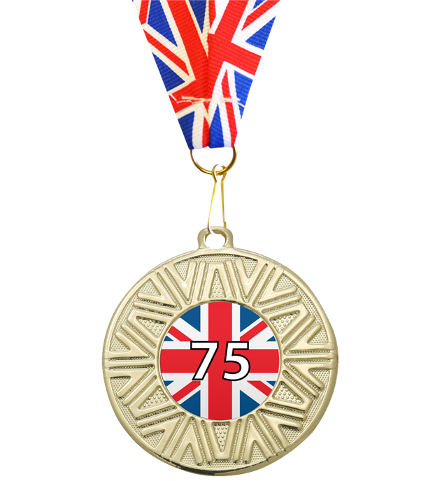"VE Day Special Edition 75th Anniversary Medal Gold with Union Flag Medal Ribbon 50mm (2"")"