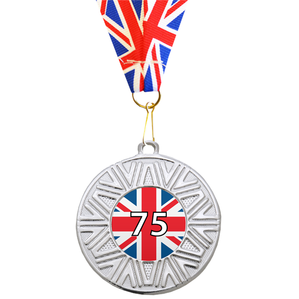 """VE Day Special Edition 75th Anniversary Medal Silver with Union Flag Medal Ribbon 50mm (2"""")"""