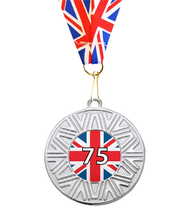 "VE Day Special Edition 75th Anniversary Medal Silver with Union Flag Medal Ribbon 50mm (2"")"
