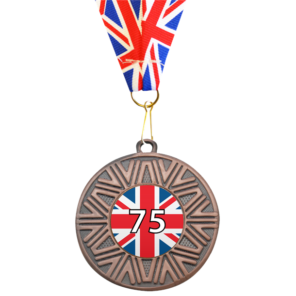 """VE Day Special Edition 75th Anniversary Medal Bronze with Union Flag Medal Ribbon 50mm (2"""")"""