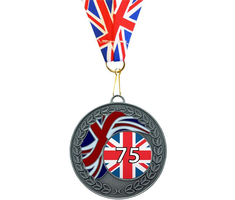 """VE Day Special Edition 75th Anniversary Laurel Wreath Medal Silver with Union Flag Ribbon 50mm (2"""")"""