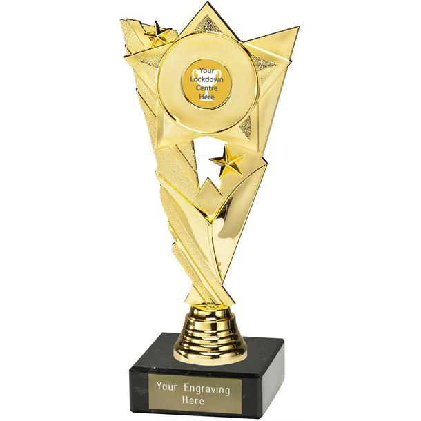 "Lockdown Trophy on Marble Base Gold 21cm (8.25"")"
