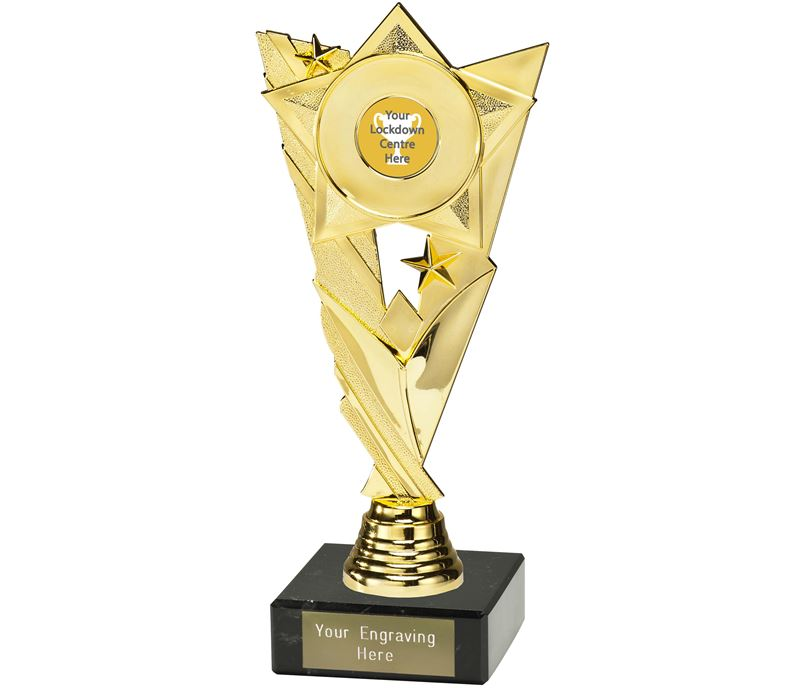 "Lockdown Trophy on Marble Base Gold 21cm (8.25"")"