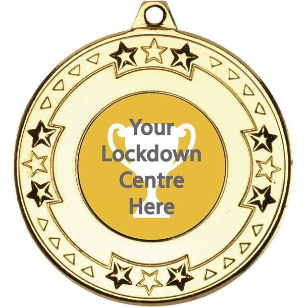 "Lockdown Star & Pattern Medal Gold 50mm (2"")"
