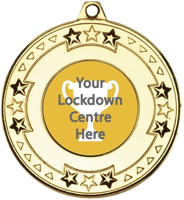 "Lockdown Star & Pattern Medal Gold 50mm (2"")"