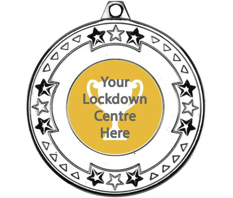 "Lockdown Star & Pattern Medal Silver 50mm (2"")"