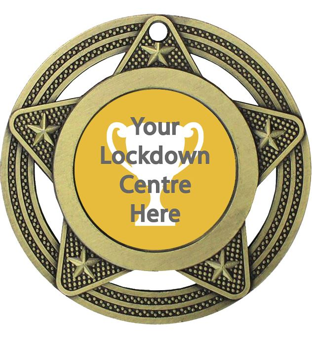 "Lockdown Medal by Infinity Stars Antique Gold 50mm (2"")"
