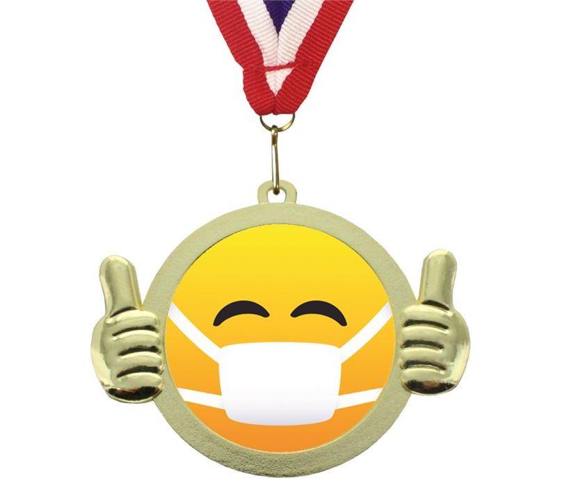 """Medical Mask Emoji Pal Medal with Medal Ribbon Gold 50mm (2"""")"""
