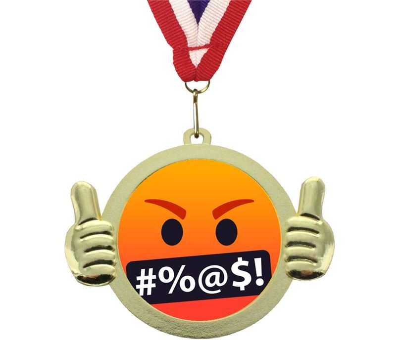 "Symbols On Mouth Emoji Pal Medal with Medal Ribbon Gold 50mm (2"")"