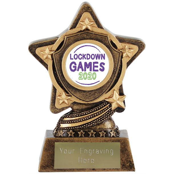 """Lockdown 2020 Games Centre Trophy by Infinity Stars 10cm (4"""")"""