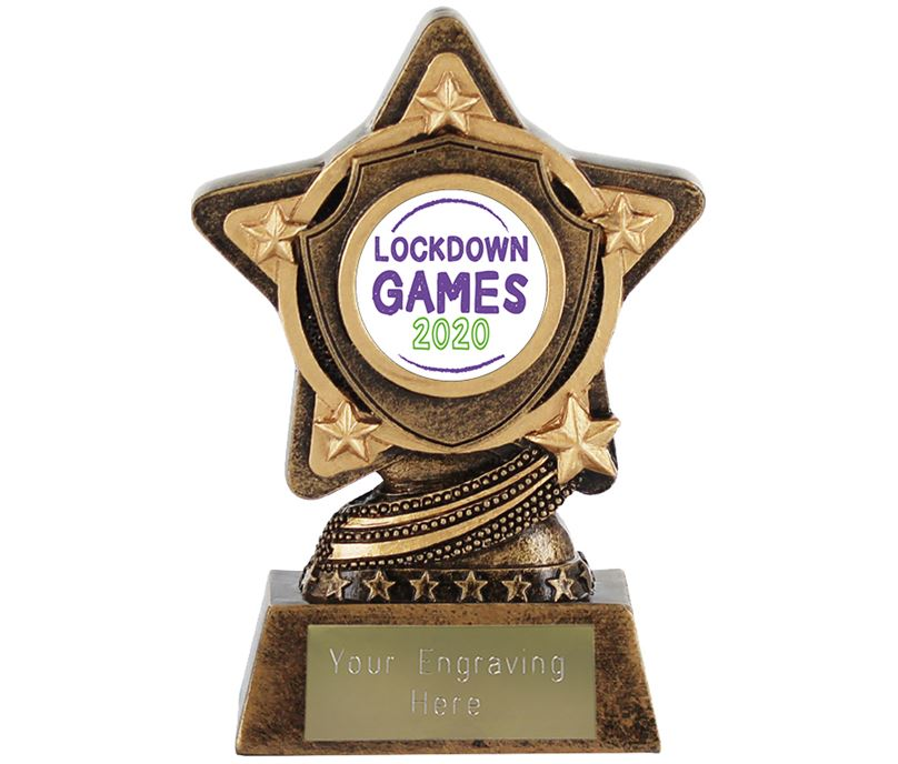 "Lockdown Games Centre Trophy by Infinity Stars 10cm (4"")"