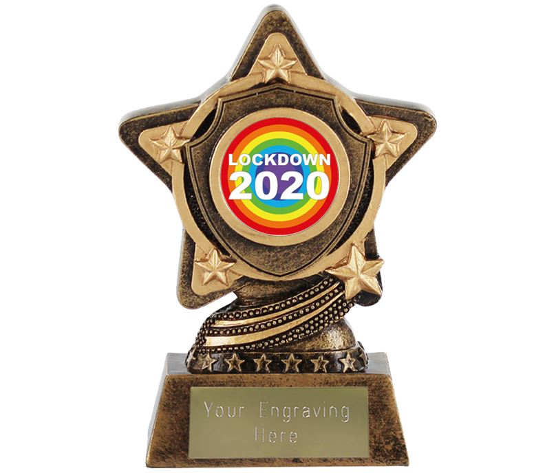 "Lockdown Rainbow Centre Trophy by Infinity Stars 10cm (4"")"