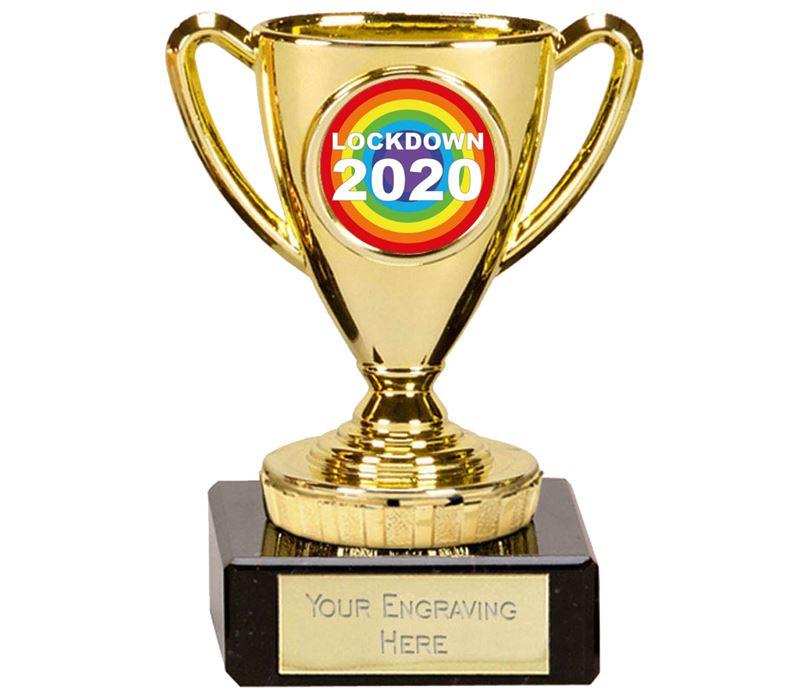 "Lockdown Rainbow Mini Cup Trophy 10cm (4"")"