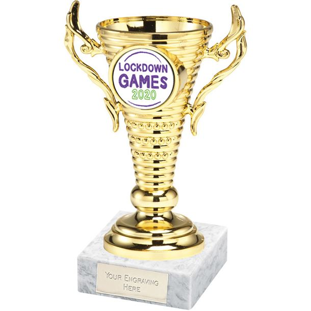 """Lockdown Games Gold Trophy Cup on White Marble Base 12.5cm (5"""")"""