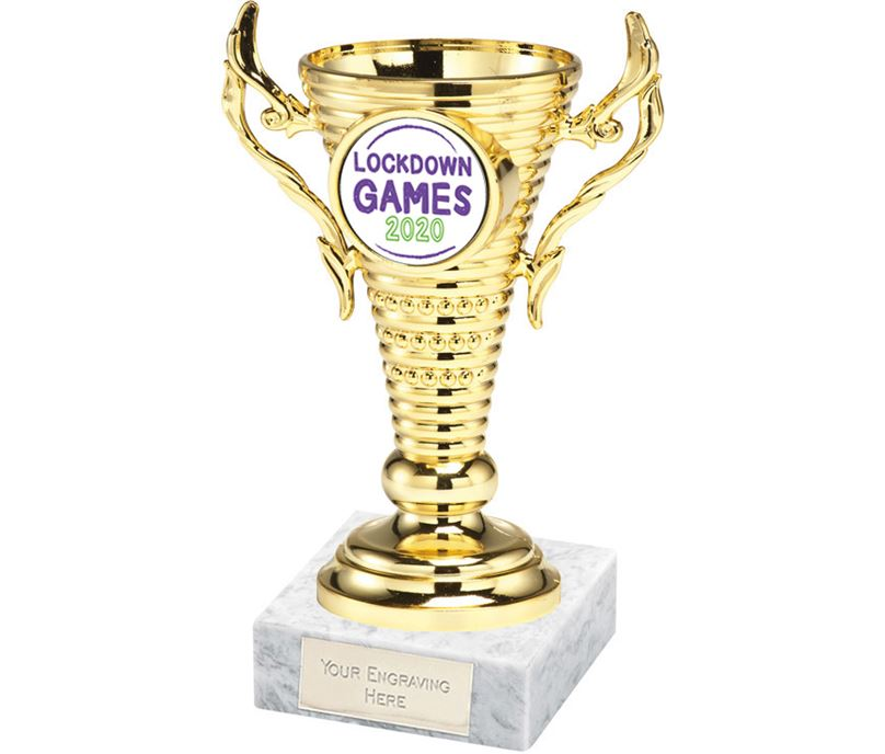 "Lockdown Games Gold Trophy Cup on White Marble Base 12.5cm (5"")"