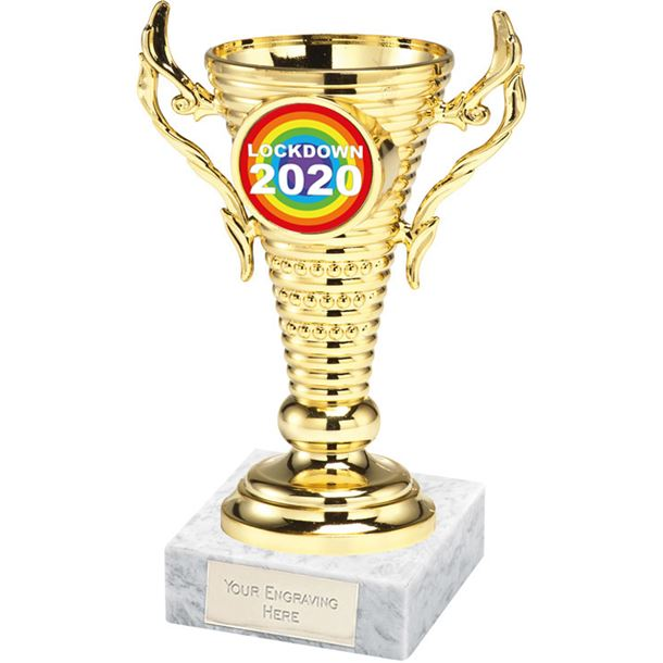 "Lockdown Rainbow Gold Trophy Cup on White Marble Base 12.5cm (5"")"