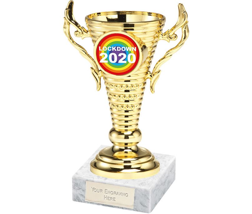 """Lockdown Rainbow Gold Trophy Cup on White Marble Base 12.5cm (5"""")"""