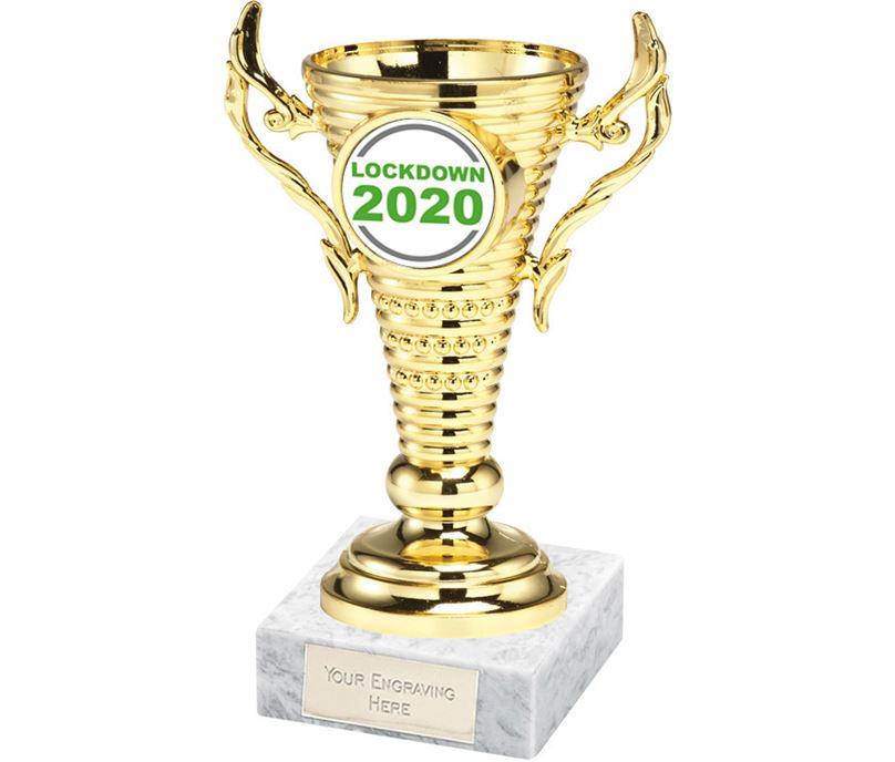"""Lockdown 2020 Gold Trophy Cup on White Marble Base 12.5cm (5"""")"""