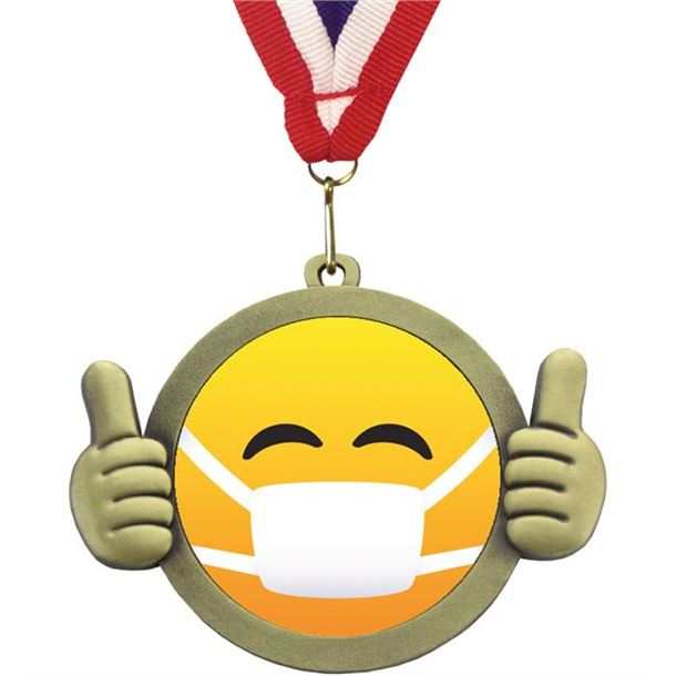 "Medical Mask Emoji Pal Medal with Medal Ribbon Antique Gold 50mm (2"")"