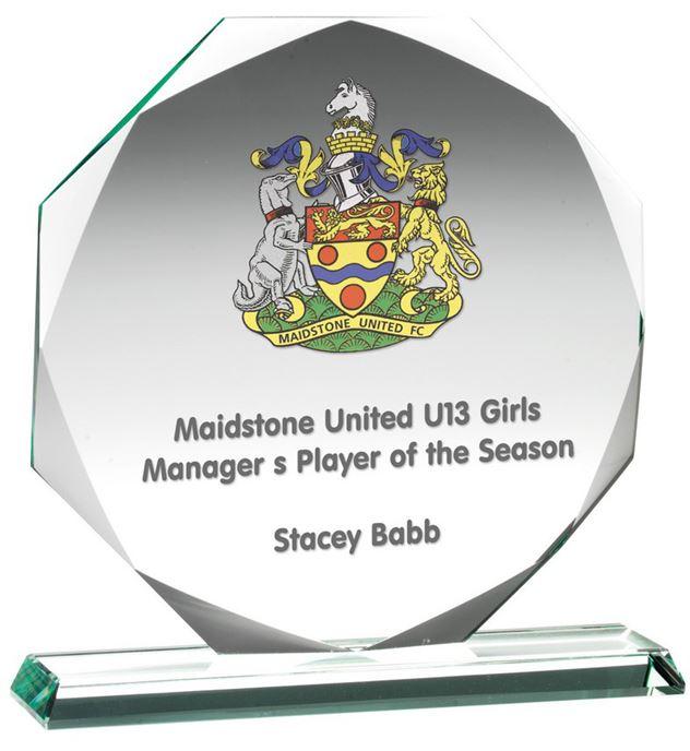 "Octagonal Jade Glass Award 22cm (8.75"")"