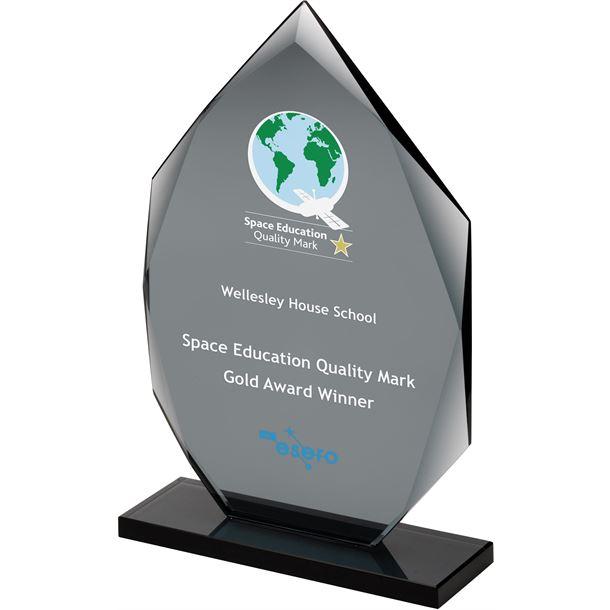 """Smoked Diamond Plaque Glass Award 18cm (7"""")"""