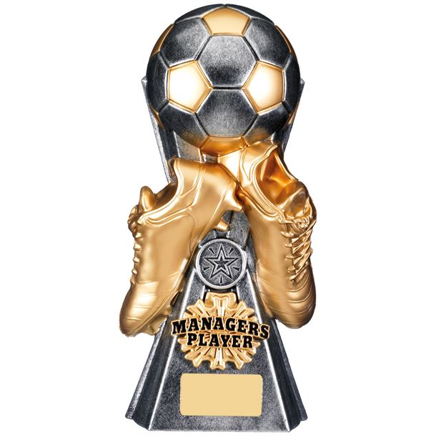 """Gravity Football Managers Player Trophy Antique Silver 26cm (10.25"""")"""