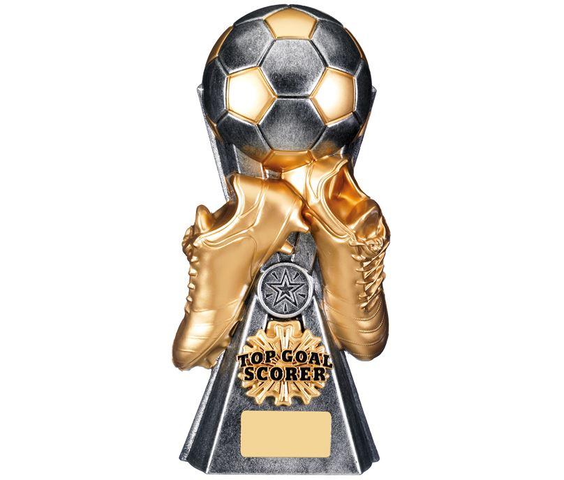 "Gravity Football Top Goal Scorer Trophy Antique Silver 26cm (10.25"")"