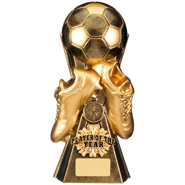 "Gravity Football Player Of The Year Trophy Antique Gold 26cm (10.25"")"