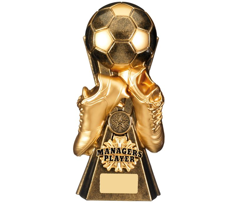 """Gravity Football Managers Player Trophy Antique Gold 26cm (10.25"""")"""
