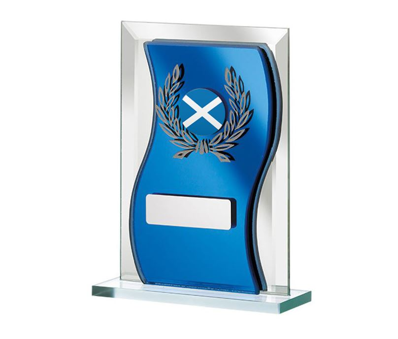 "Scottish Flag Blue Mirrored Glass Plaque Award 15cm (6"")"
