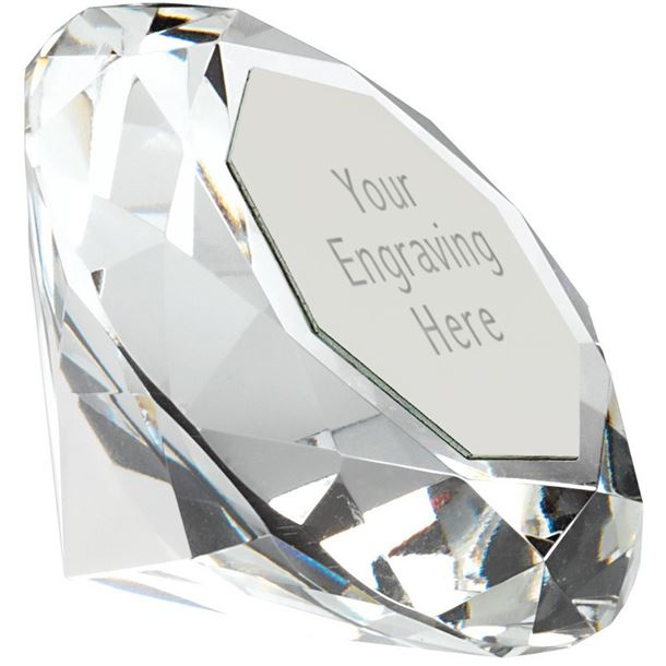 "Clarity Diamond Paperweight Award Silver 10cm (4"")"