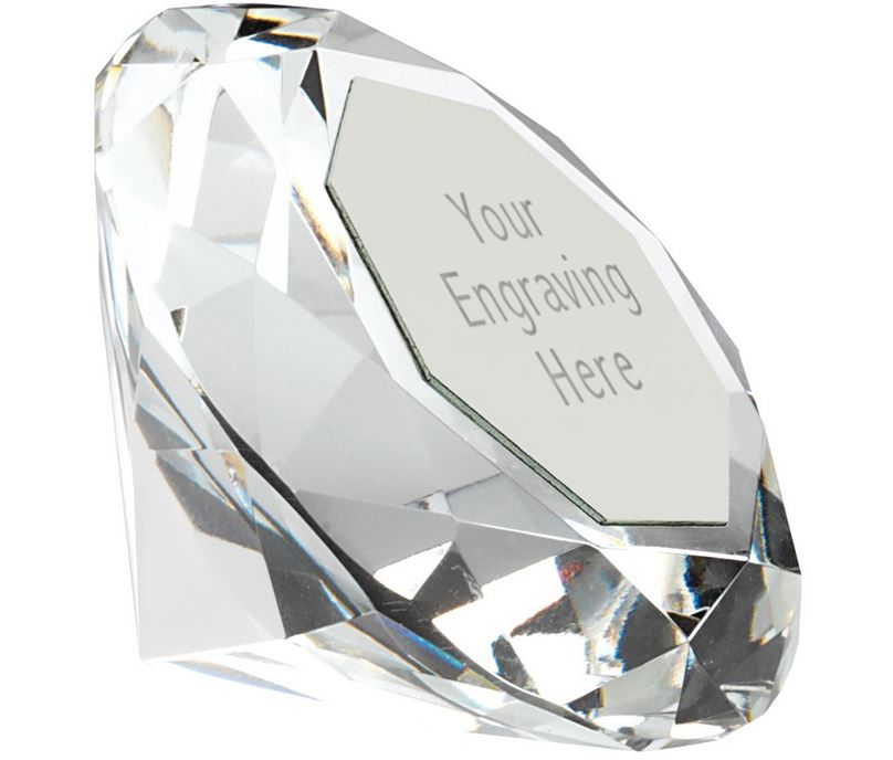 "Clarity Diamond Paperweight Award 8.5cm Silver (3.25"")"