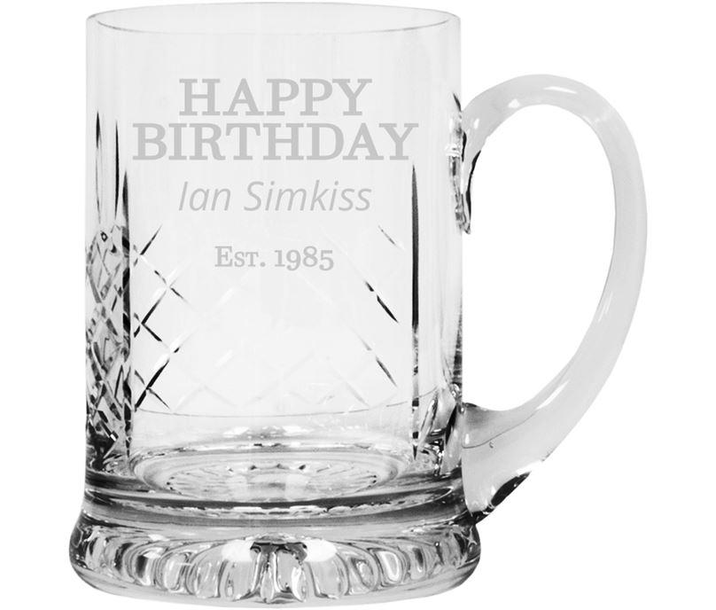 "Happy Birthday Personalised Cut Crystal 1pt Tankard 14cm (5.5"")"