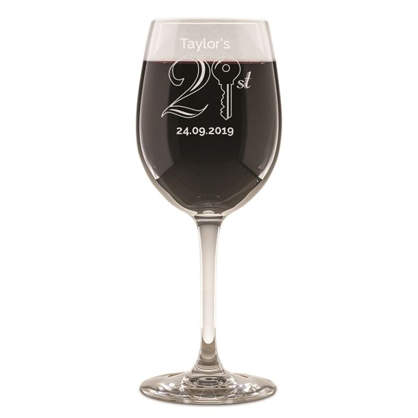 "Personalised 21st Birthday Key Wine Glass 20.5cm (8"")"