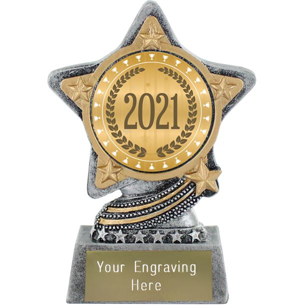 "2021 Trophy Laurel Wreath by Infinity Stars Antique Silver 10cm (4"")"