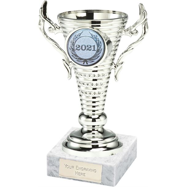 "2021 Silver Trophy Cup on White Marble Base 12.5cm (5"")"