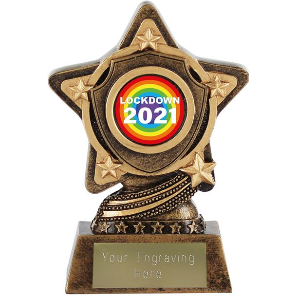 "Lockdown 2021 Rainbow Centre Trophy by Infinity Stars 10cm (4"")"
