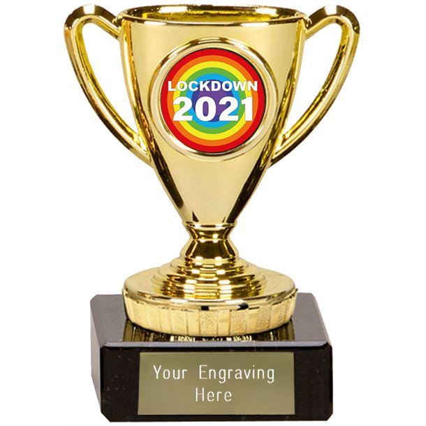 "Lockdown 2021 Rainbow Mini Cup Trophy 10cm (4"")"