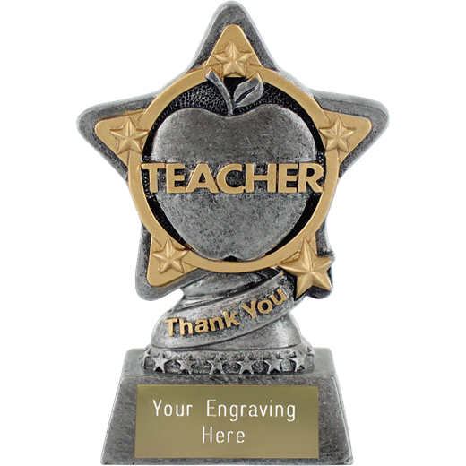 """Teacher Trophy by Infinity Stars in Antique Silver 10cm (4"""")"""