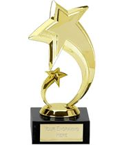 "Two Gold Stars in Spiral Design Trophy 18cm (7"")"