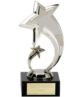 "Two Silver Stars in Spiral Design Trophy 18cm (7"")"