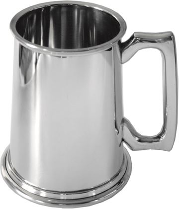 "High Polished Plain 2pt Sheffield Pewter Tankard 16.5cm (6.5"")"