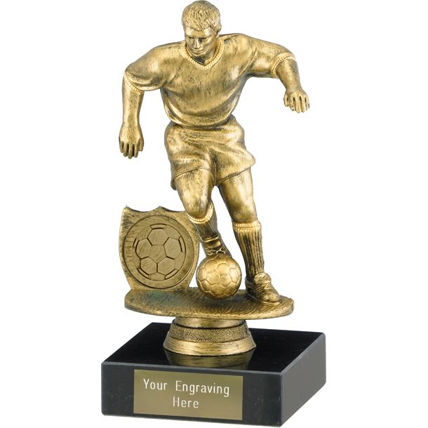 "Male Footballer Trophy on Marble Base Antique Gold 15cm (6"")"