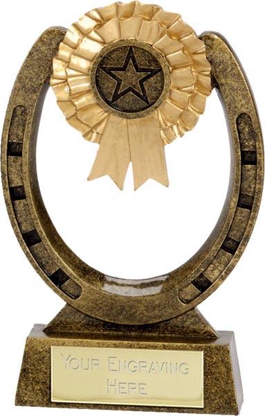 "Antique Gold Horse Shoe Award 15cm (6"")"