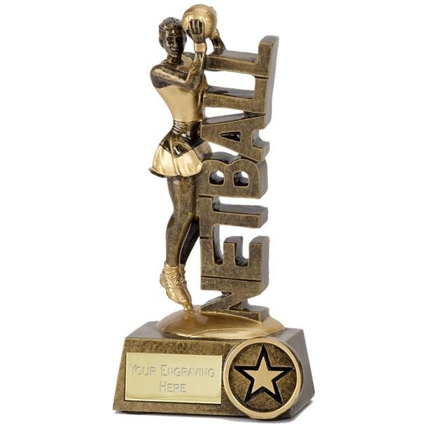"""Netball Player & Words Trophy 12.5cm (5"""")"""