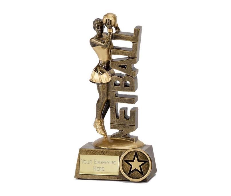 "Netball Player & Words Trophy 15cm (6"")"