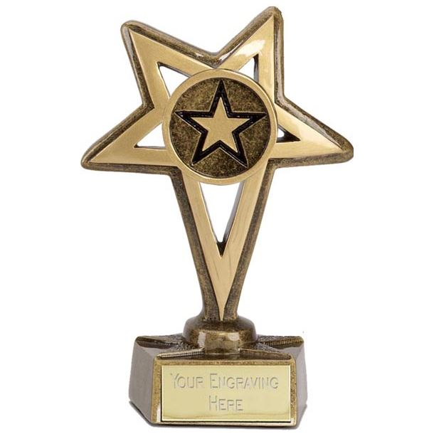 "Gold Star with Centre Star Trophy 10cm (4"")"