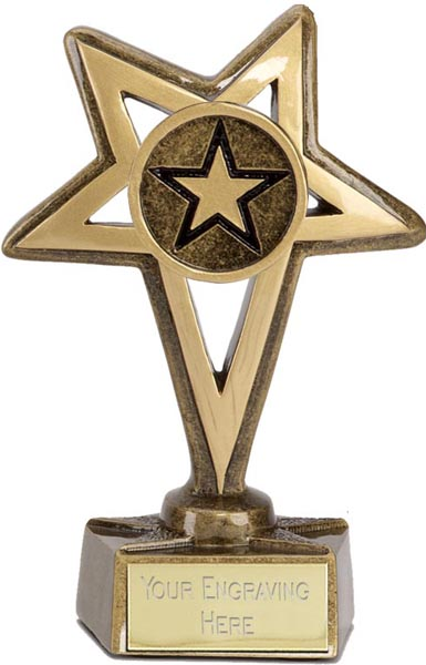 "Gold Star with Centre Star Trophy 12cm (4.75"")"