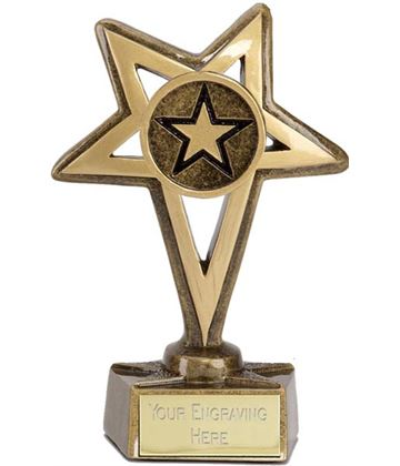 """Gold Star with Centre Star Trophy 12cm (4.75"""")"""