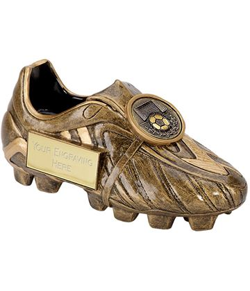"Resin Antique Gold Premier Football Boot 14.5cm (5.75"")"